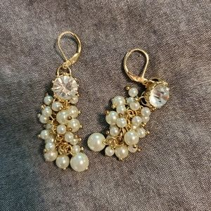 Jewelry - Faux pearl and diamond earrings